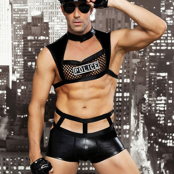 Sexy Police Uniform Bar Night Club Role Cosplay Performance Man Lingerie