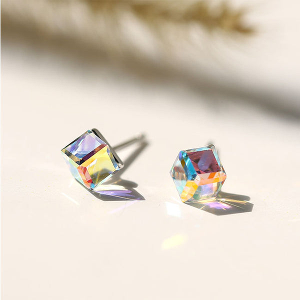 Cute Square Sugar Cube Silver Crystal Women Earrings