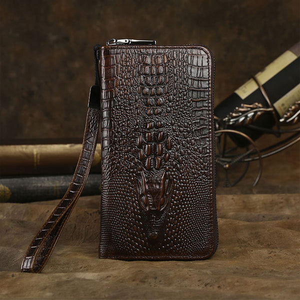Retro Business 3D Crocodile Wallet Long Large Crocodile Skin Pattern Handmade Purse Phone Clutch Bag
