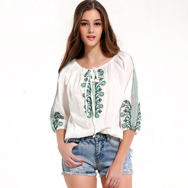 Bandage Quarter Embroidered Casual Loos Tops