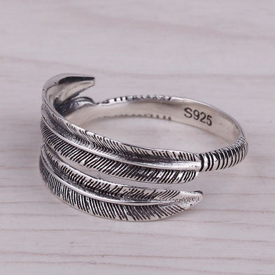 Individualized Feather Opening Ring/Couple Ring - lilyby