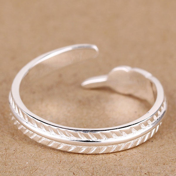 Cute Feather 925 Sterling Sliver Opening Ring - lilyby