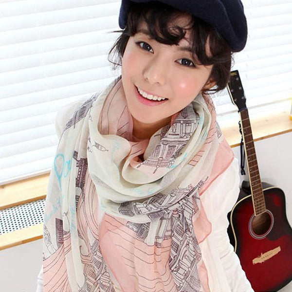 Leisure Long Scarf Autumn Winter Shawl Cotton Voile Cartoon Eiffel Tower Women Scarf