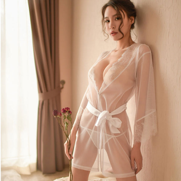 Sexy Nightdress Pajamas Loose Mesh Robe Lady  Lace Bandage Intimate Lingerie
