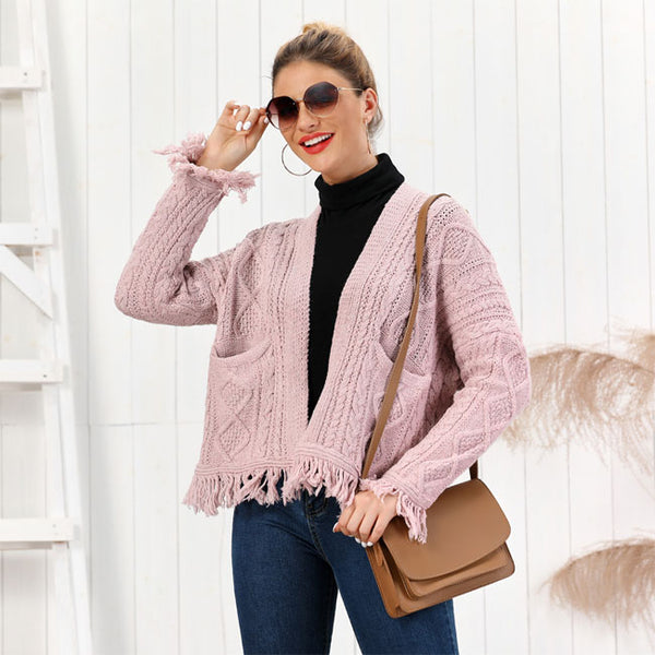Fashion Tassel Loose Knit Long Sleeve Twist Cardigan Women Sweater