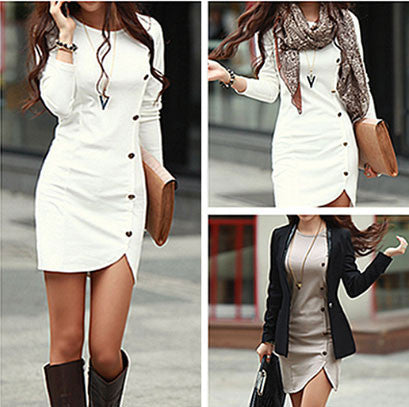 Unique Slit Single Breasted Long Sleeve Dresses