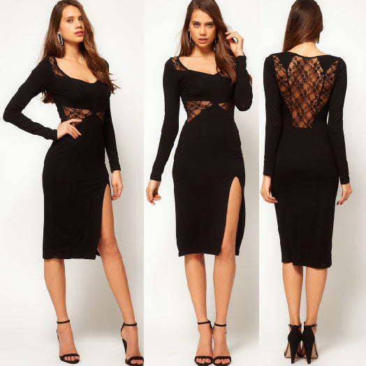 Sexy Hollow Lace Side Split Long Sleeve Dresses - lilyby