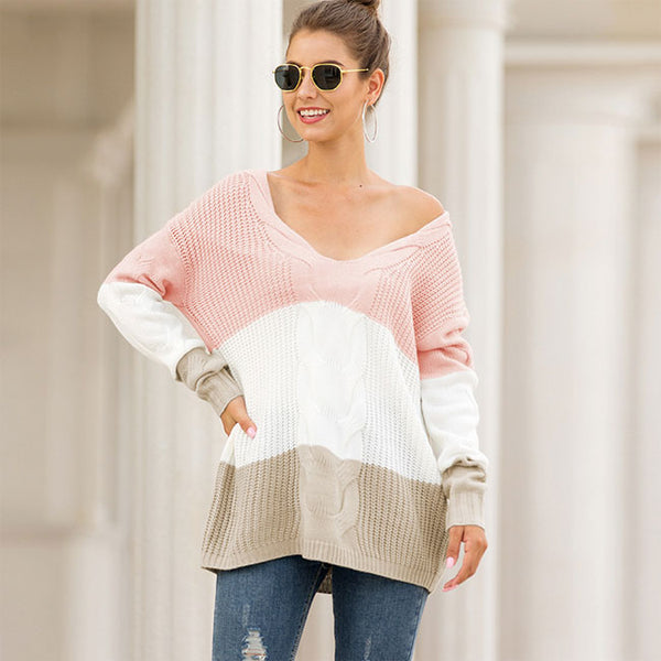 Fashion Knitting V Collar Strapless Shoulder Loose Twist Long Sleeve Stripe Cardigan Women Sweater