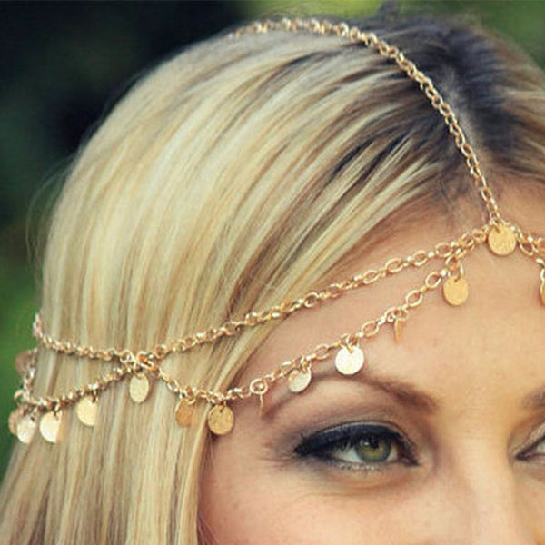 Fashion Shiny Gold Piece Wave Tassel Chain Hair Accessory