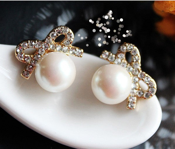 New Graceful Big Pearl Bowknot Earring&Stud - lilyby