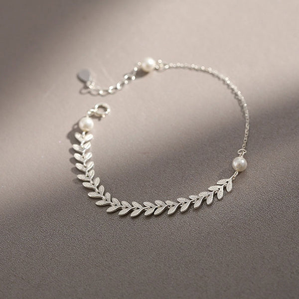 Sweet Wheat Ears Simple Literature Pearl Leaf Silver Lady Bracelet