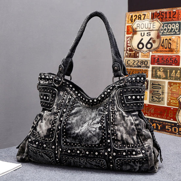 Punk Rivet Blue Denim Large Women Shoulder Bag Retro Handbag