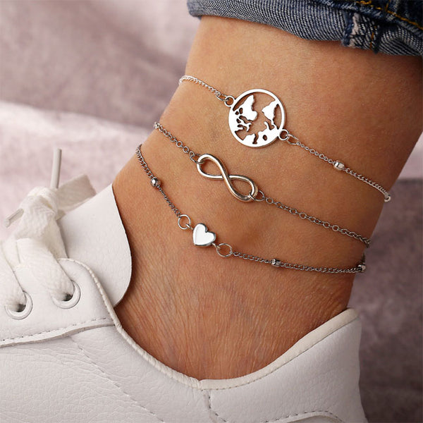 Fashion Map Love Heart Lucky Anklet Women Foot Accessory Anklet