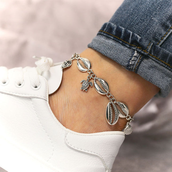 Fashion Foot Accessory Beach Metal Shell Starfish Conch Anklet