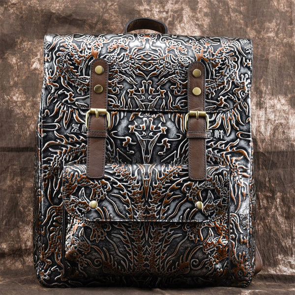 Retro School Backpack Original Double Buckle Embossing Totem Student Backpack