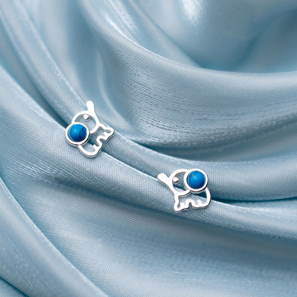Lovely Fresh Elephant Hollow Blue Gem Silver Girl's Earrings Studs