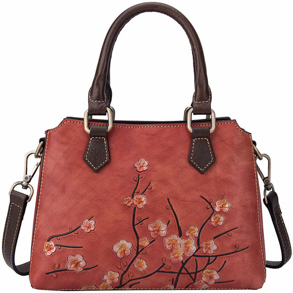 Retro Branch 3D Plum Flower Handbag Original Top Layer Leather Shoulder Bag