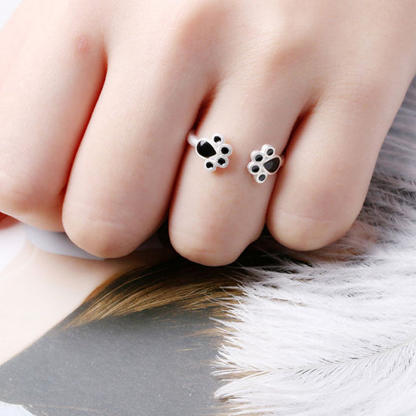 Cute Funny Black Cat Foot Open Ring Animal Ring