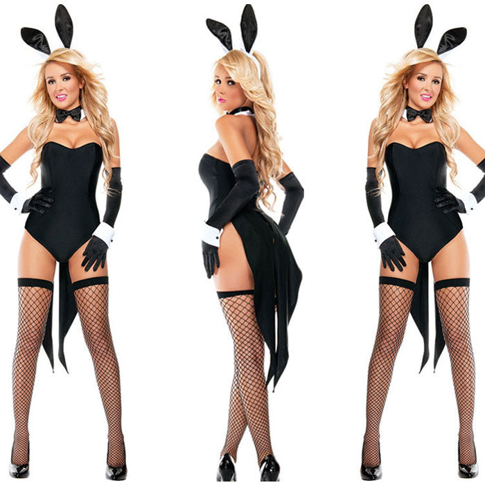 Sexy Bunny Seduction Cosplay Costume  Halloween Conjoined Lingerie