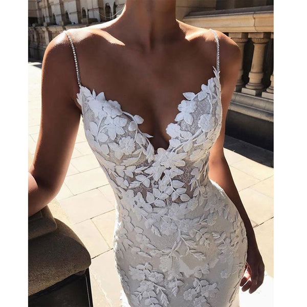 Fashion White Lace Hollow Party Dress V-neck Leaves Lace Backless Slim Camisole Prom Dress