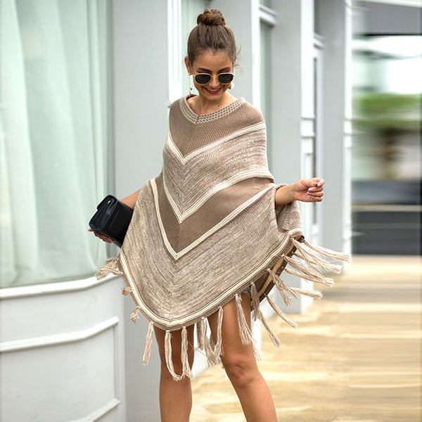 Leisure Tassel Geometry Round Collar Pullover Autumn Cloak Shawl Women Sweater