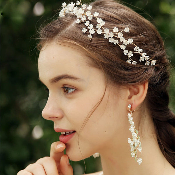 Elegant Handmade Bridesmaid Small Flower Branch Wedding Crystal Hair Band Bride Hair Accessories