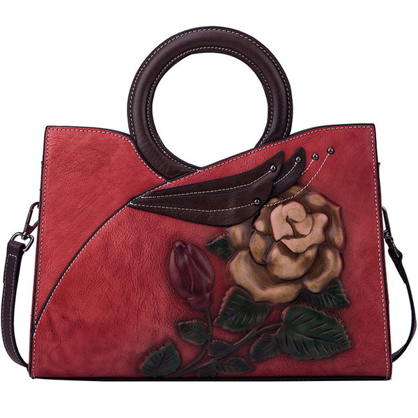 Retro Circle Handle Original Large Flower Leaves Handbag Rose Handmade Embossing Shoulder Bag