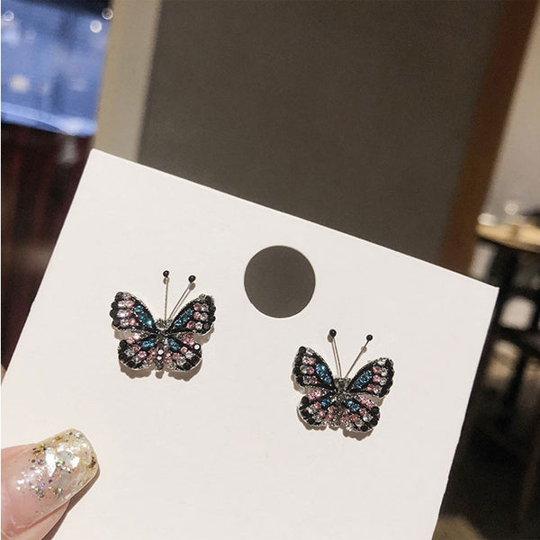 Cute  Fresh Lady Earrings Diamond Butterfly Animal Earring Studs