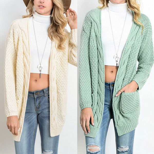 Leisure Long Large Sweater Ladies Twist Knit Cardigan Women Sweater