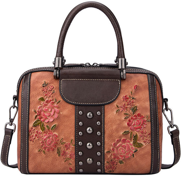 Retro Leaves Rivet Original  3D Flower Handbag Shoulder Bag