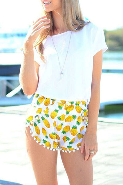 small Balls Pineapple Print Elastic Waist Chiffon Fringed Shorts