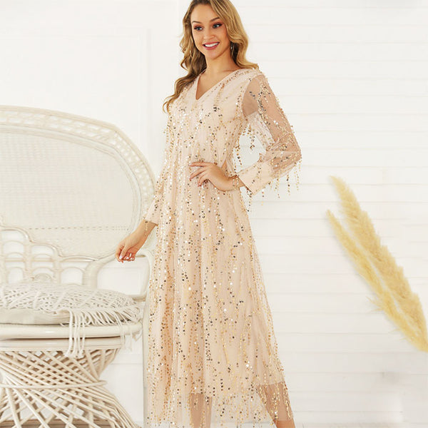 Leisure Fringe Perspective Tassel Sequined Ladies Long Dress Long Sleeve Sequin Dress