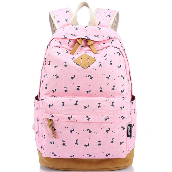 Fresh Elk Printing Student Canvas Rucksack Fawn Girl School Backpacks