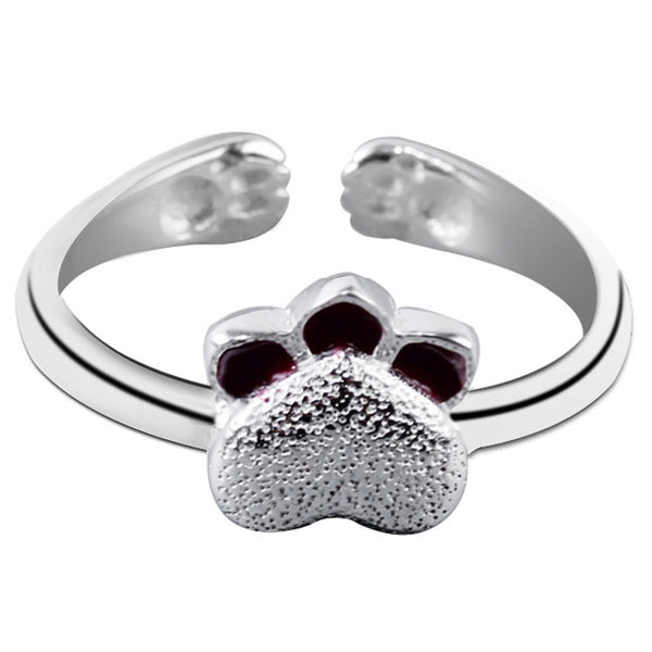 Cute Kitty Silver Open Ring Handmade Cat Jewelry Lovely Kitten Girls Ring
