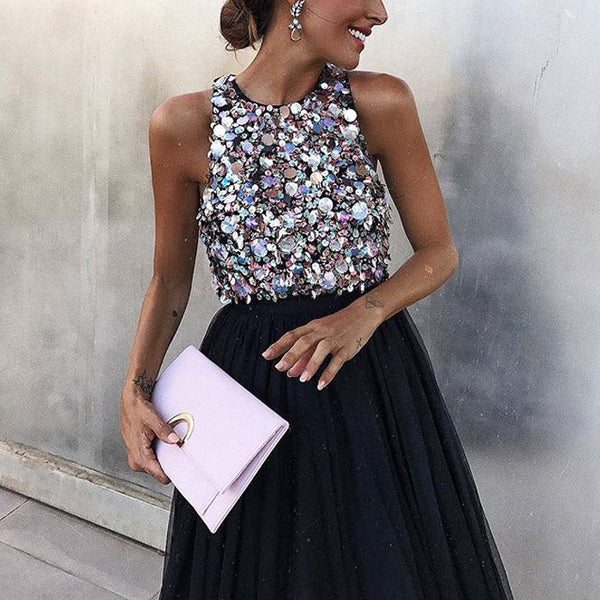 Sexy Black Halter Party Sequin Dress Sleeveless Prom Dress