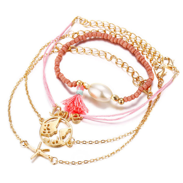 Casual LOVE Letter Starfish Map Tassel Four Piece Set Bracelet