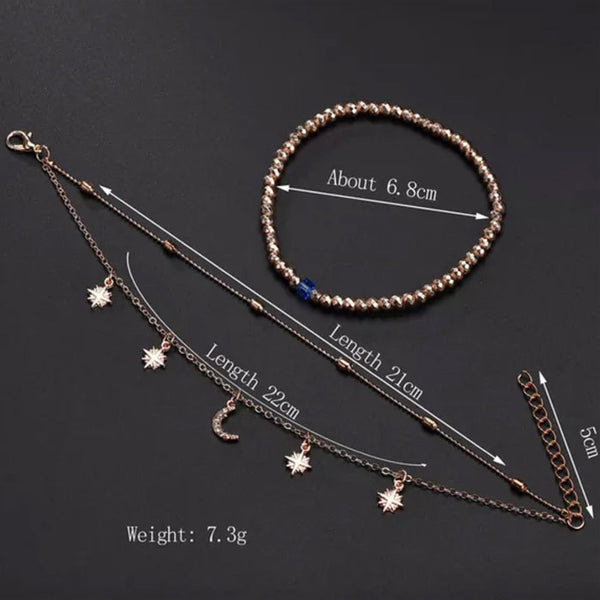 Casual Summer Multi-layer Beaded Star Moon Women's Anklet
