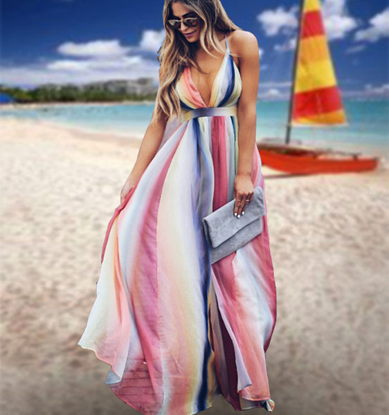 Fresh Multi-color Stripe Open-back Cross Suspender Bohemian Long Summer Dress
