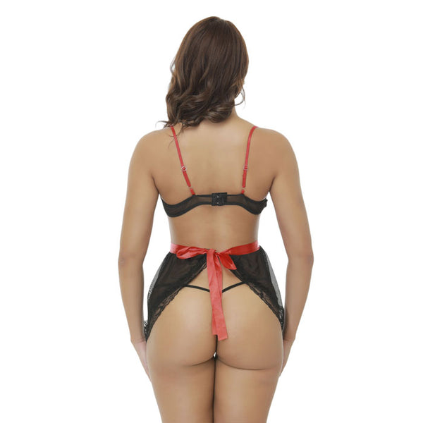 Sexy Transparent Backless Nightdress Intimate Bow Lace Mesh Hollow Women's Lingerie