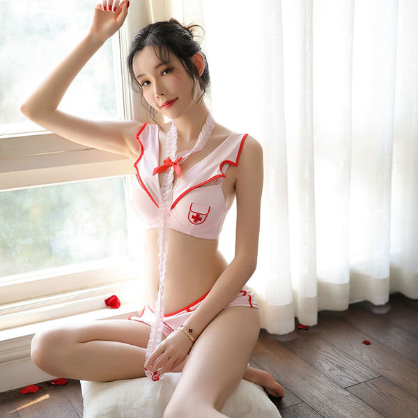 Sexy Nurse Costume Role-Playing Cute Steel Ring pajamas Nurse Cosplay Women's Lingerie