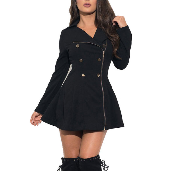 Leisure Black Commuter Slim Double-breasted Button Jacket Winter Warm Women Dress Coat