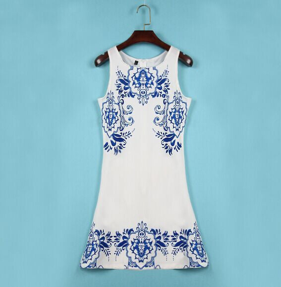 Blue And White Porcelain Printed Sleeveless Skirt - lilyby