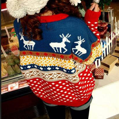Pretty Deer Quilted Snowflake Christmas Sweater - lilyby