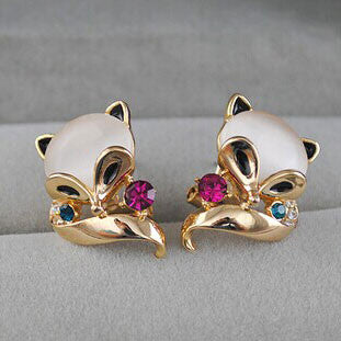 Cute Fox Animal Opal Studs Earrings - lilyby