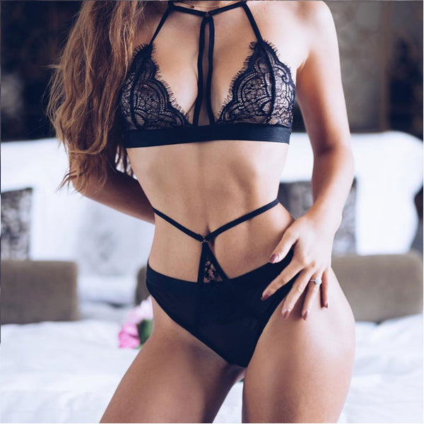 Sexy Mesh Black High Waist Sling Women Lace Bandage Bra Set Intimate Lingerie
