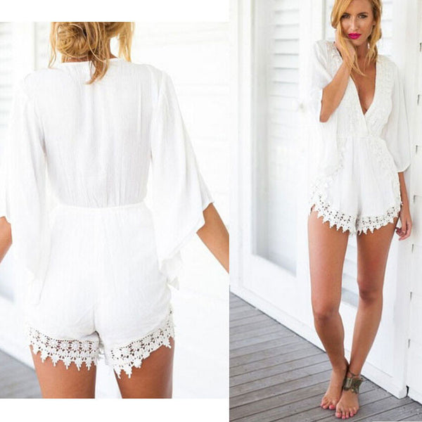 Geometry Deep V-Neck Long Sleeve Lace Piece Shorts - lilyby