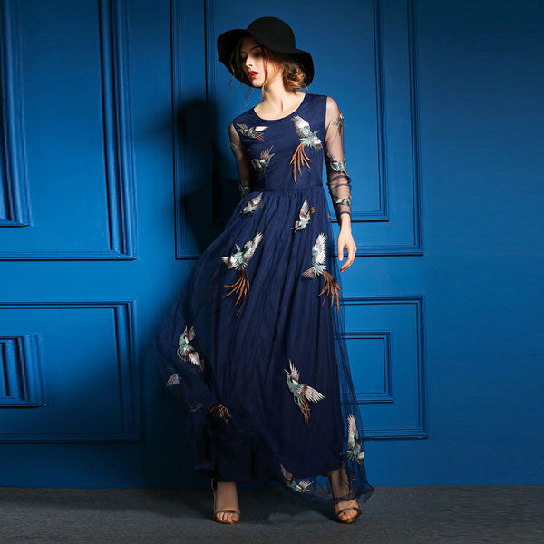 Classic Style Phoenix Embroidered Long Dresses - lilyby