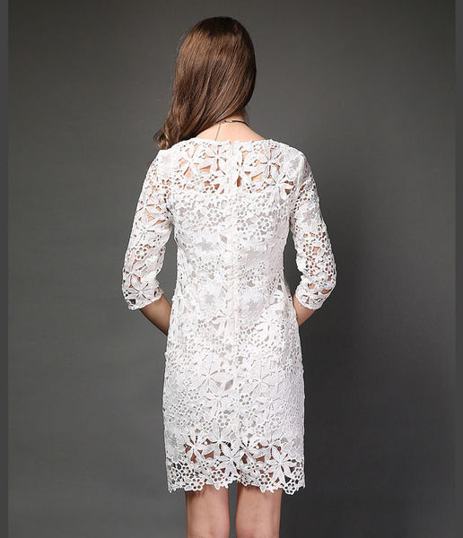 Flower Nail Lace Beaded Package Hip Slim Sleeve Dress - lilyby