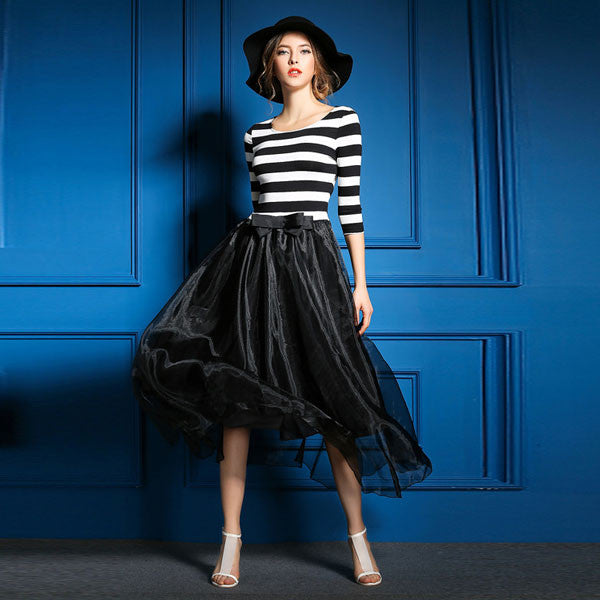 Classic Black And White Striped Stitching Gauze Dress - lilyby