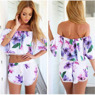 Colorful Violet Collar Bra Printing Casual Shorts Jumpsuit - lilyby